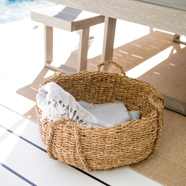 The Olive Branch Studio basket | The Beach People towels