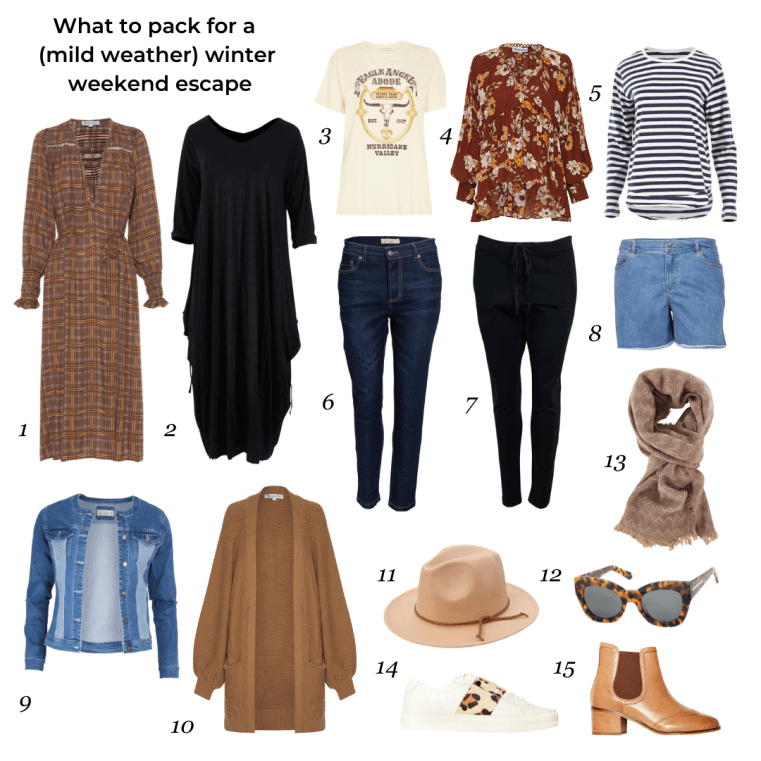 What to pack for winter weekend escape (mild weather)