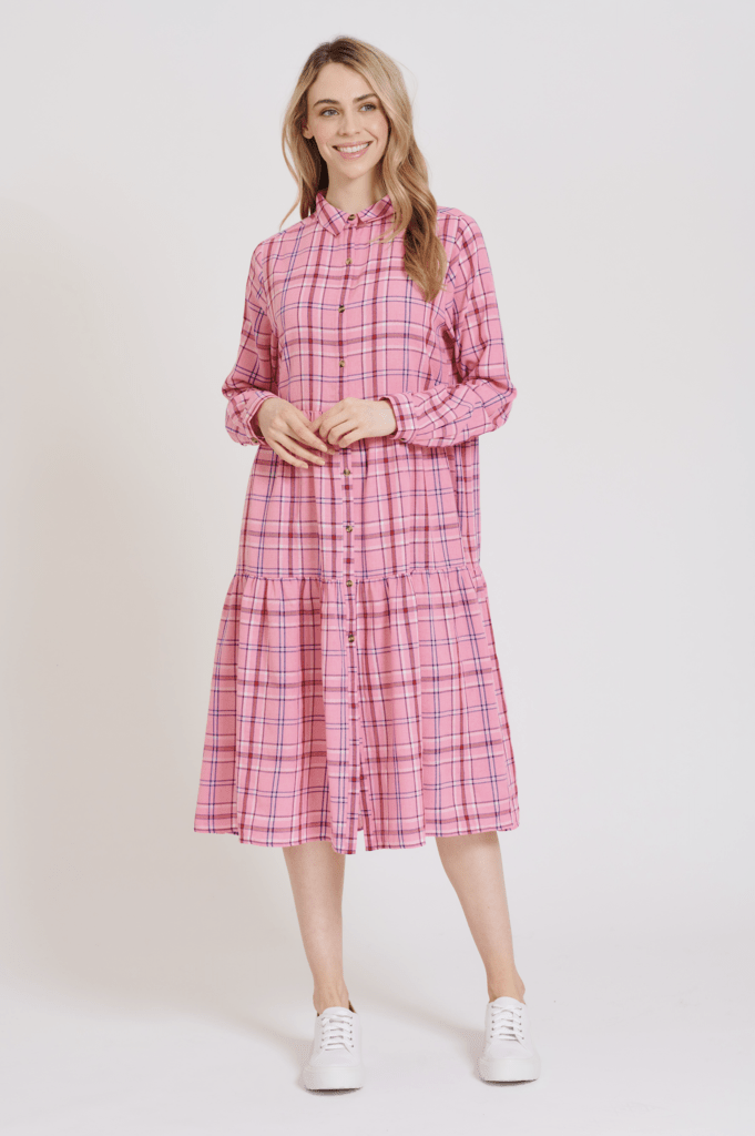 Alessandra Hazel dress in pink check