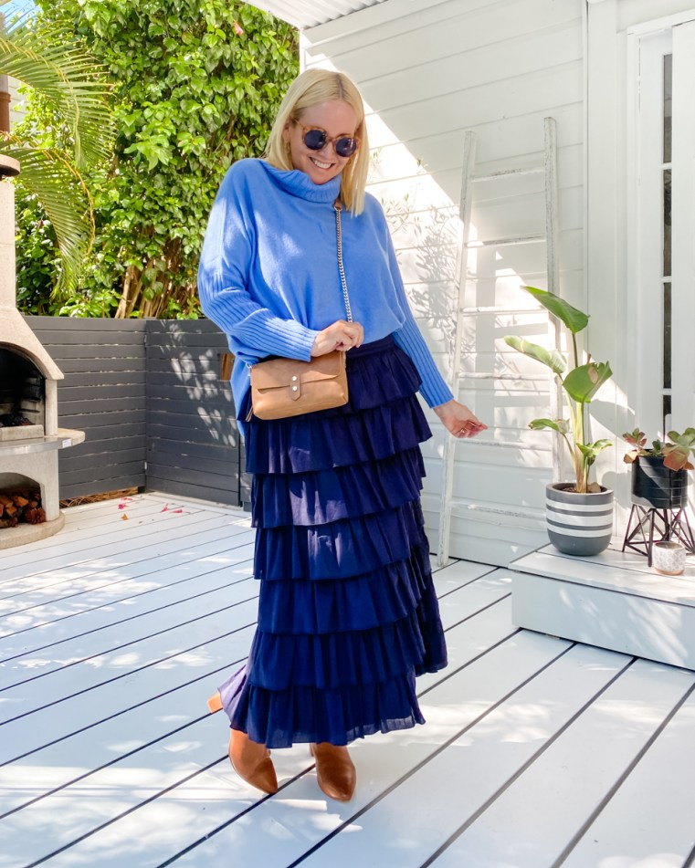 Arlington Milne Sinead roll-neck knit, Delilah midi skirt and Paige wallet | FRANKiE4 Footwear WHiTNEY boots
