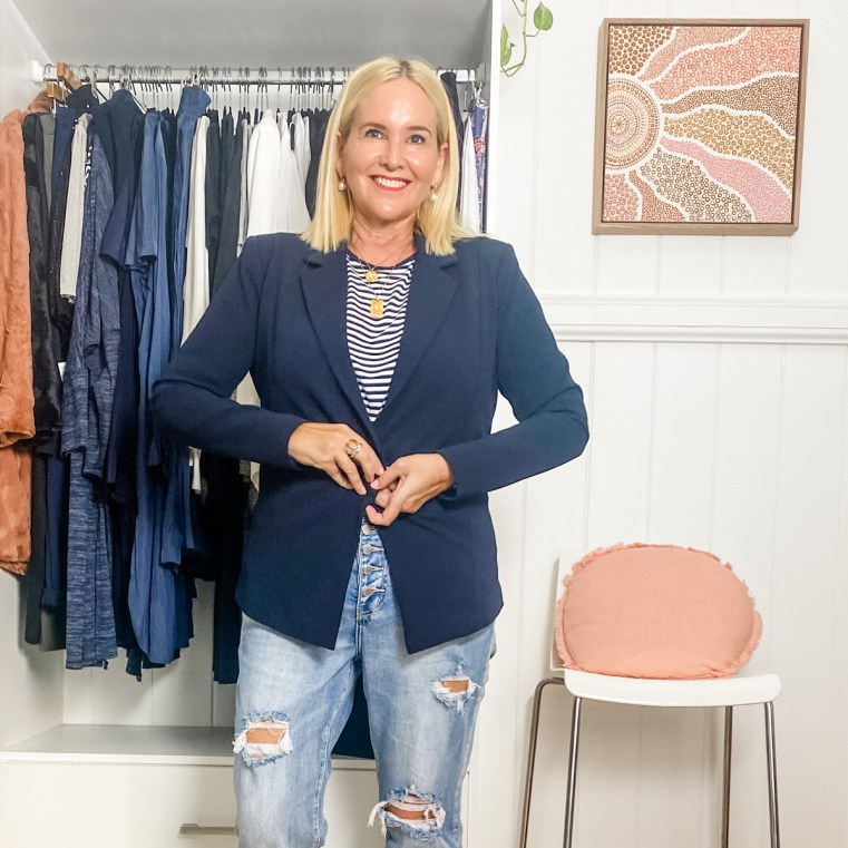 Styling You The Label Helen blazer in navy (What jackets to wear for your shape)