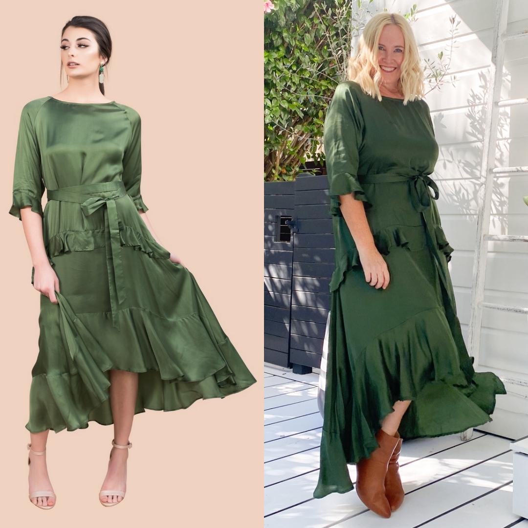 The Model and Me: Anannasa Lisa dress - sage