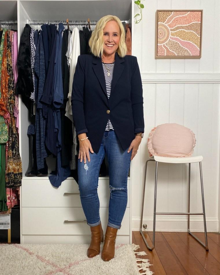 Styling You The Label blazer and striped tee | Decjuba jeans | FRANKiE4 Footwear WHiTNEY boots