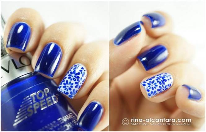 Mediterranean White And Blue Nail Art 11