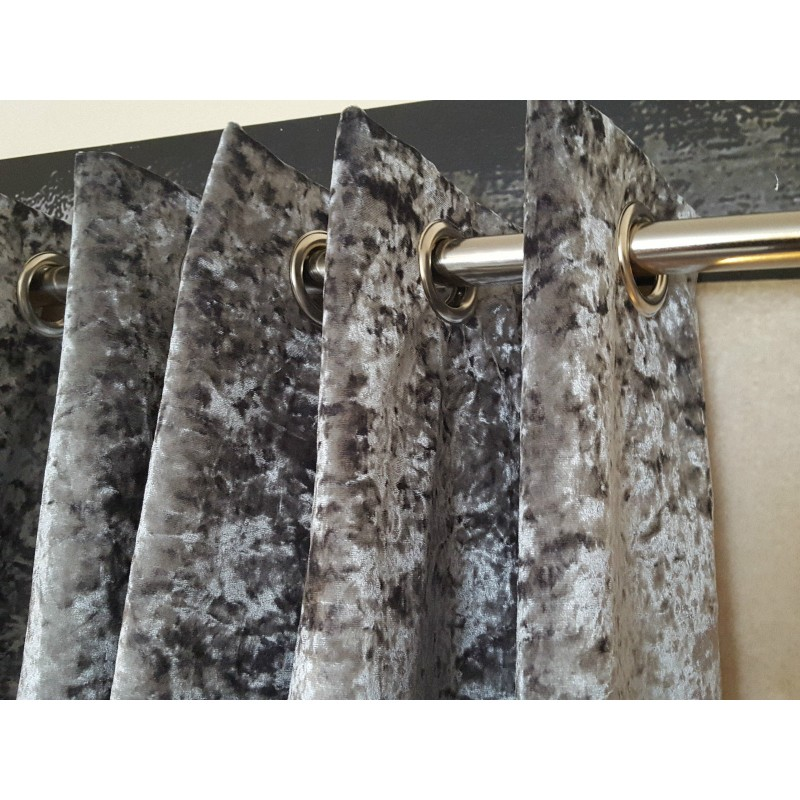 Huge Heavy Silver Crushed Velvet 111D 76W Blackout Lined Eyelet Bay Curtains Stylish