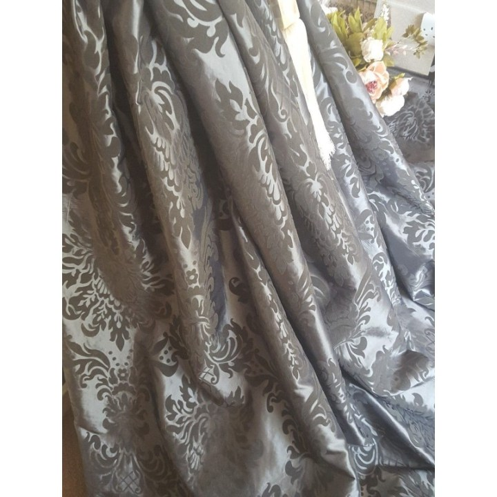 French Grey Damask Curtains | Gopelling.net