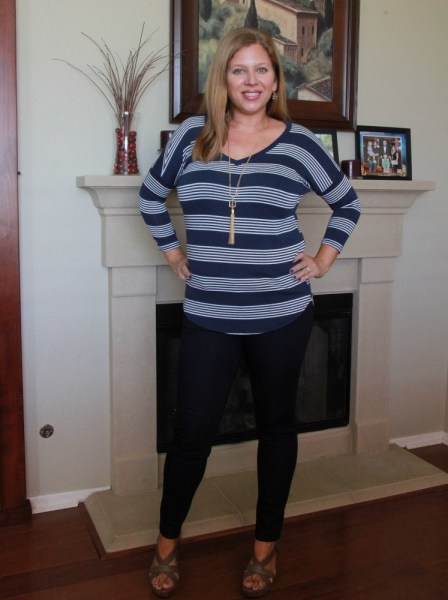 Stitch Fix September 2016 Review - Market & Spruce Careen V-Neck Dolman Knit Top and Just Black Adorra Skinny Jean #stitchfix #fashion #style #clothing
