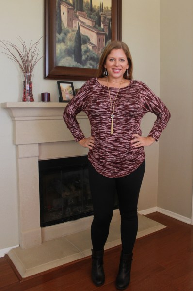 Stitch Fix February 2016 - Market & Spruce Sawyer Space Dye Dolman Sleeve Knit Top, Rune Porter Legging and Romolo Canon Pyrite Tassel Necklace