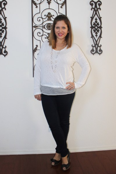 stitch fix january state side hildie layered knit top and liverpool shania stitched detail jean