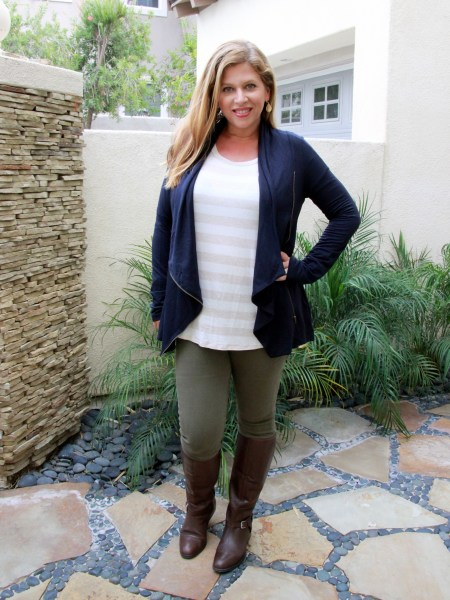 Stitch Fix November 2016 Review - Market & Spruce Alan French Terry Assymmetrical Zip Cardigan and Warp + Weft Mattie Skinny Jean #stitchfix #fashion #style