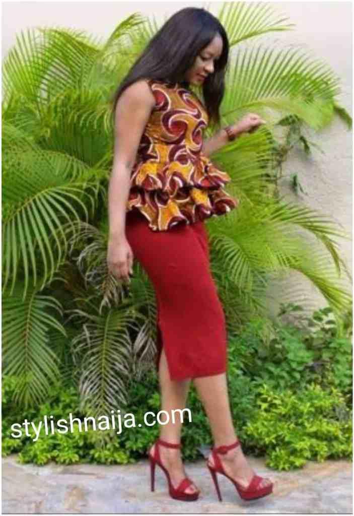 Dazzling ankara pencil skirts and Peplum Blouse Styles