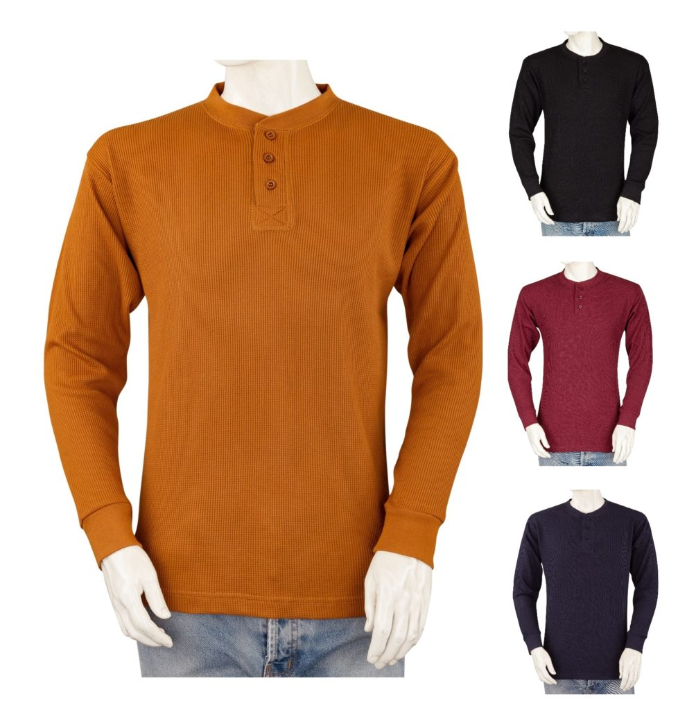 bfa7924e61dd Styllion Men's Thermal Henley Shirt - Big and Tall - Heavy Weight ...