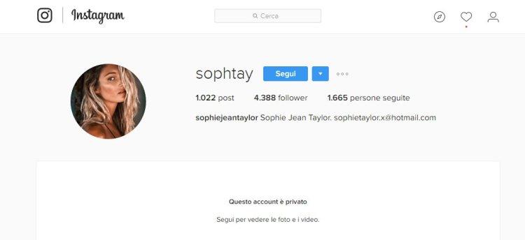 Sophie Jean Taylor: il suo Instagram