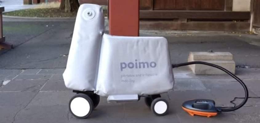 Scooter gonfiabile, lo carichi in uno zaino e ha una camera d'aria
