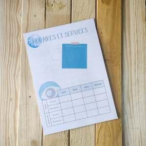 Cahier de la maitresse - horaires et services