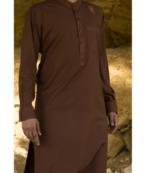 Shalwar Kameez Brown Wash n Wear Band Collar