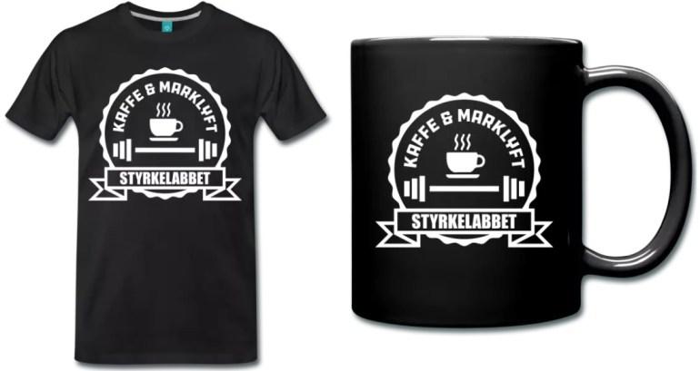 Kaffe och marklyft tshirt och mugg