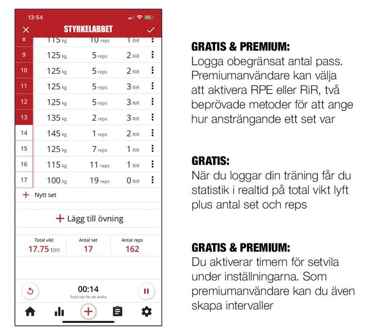 Massor med funktioner för att underlätta loggningen av din träning