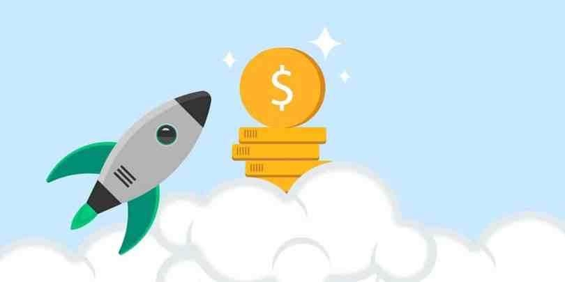 Foguete indo em direção ao dinheiro, representando sua vida financeira decolando após seguir a rotina apresentada.