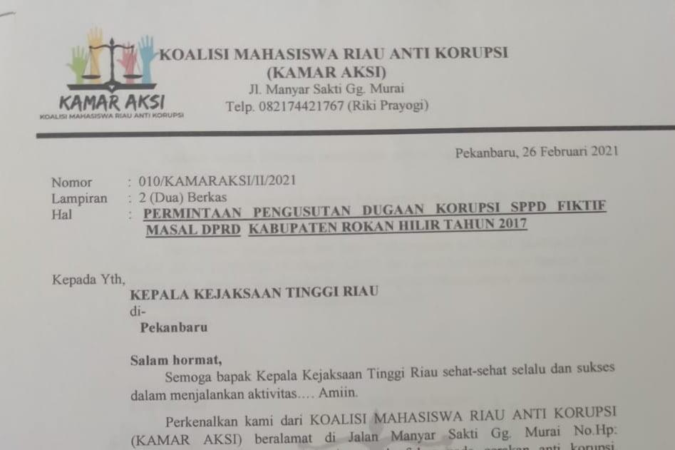 KAMAR AKSI Surati Kajati Riau Usut Dugaan SPPD Fiktif Massal Dewan Rohil