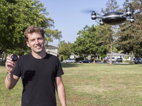 Antoine Balaresque with flying Lily Drone