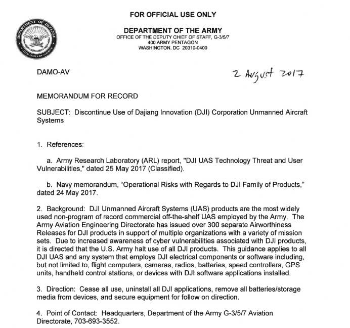 fpvcrazy DJI-no-fly-army US Army calls for units to discontinue use of DJI equipment Tech Talks  dji banned by us army