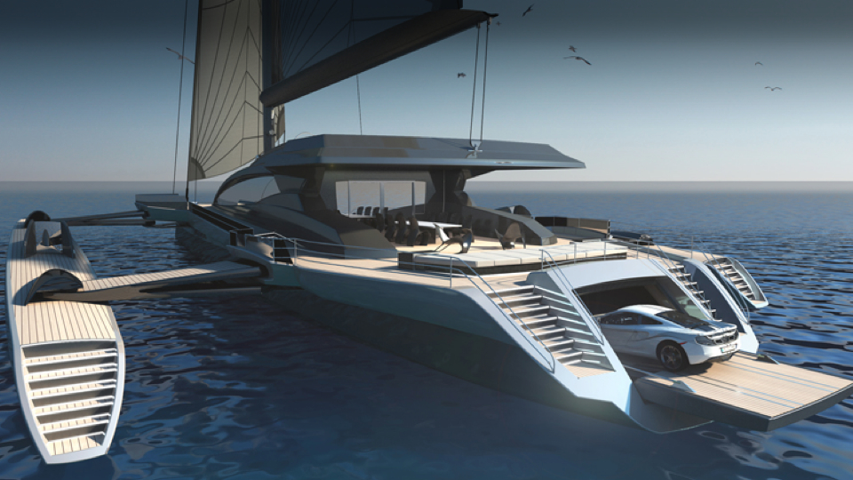 Worlds Largest UltraLuxum CXL Trimaran Concept Stows Away