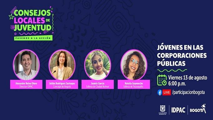 «Jóvenes en las corporaciones públicas» conversatorio virtual del IDPAC