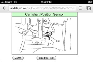 Where is the camshaft position sensor on the 30 H6
