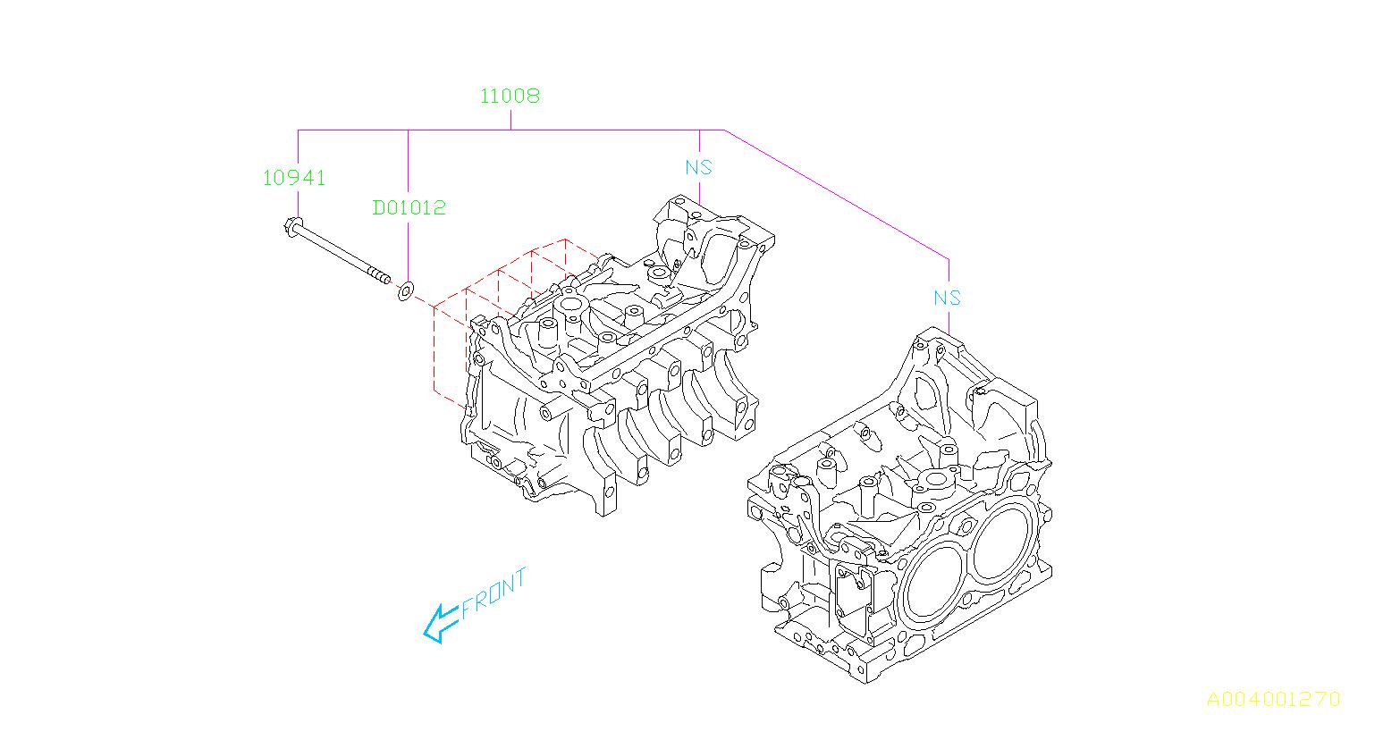 Subaru Outback 2 5l Cvt Bolt Cylinder Block Body Engine