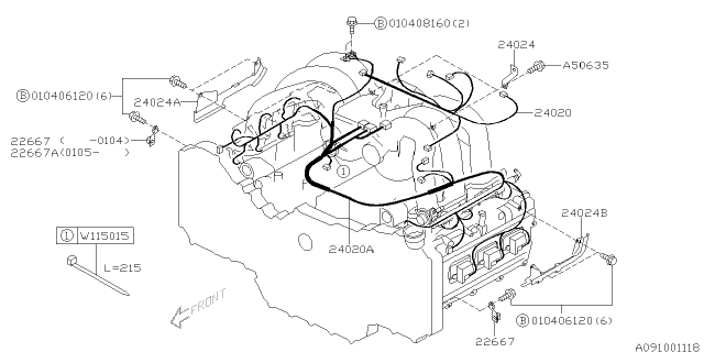 engine wiring harness  2005 subaru baja