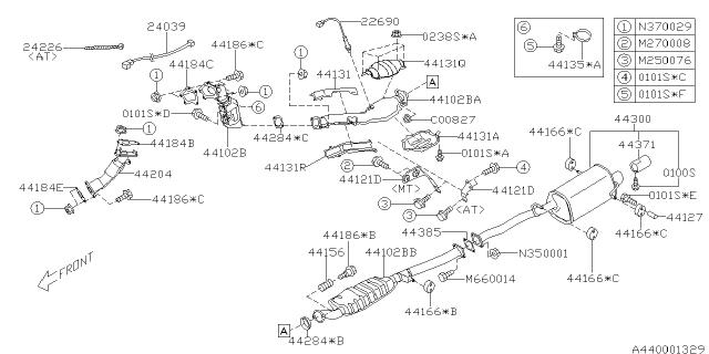 44201sa021 genuine subaru exhaust pipe