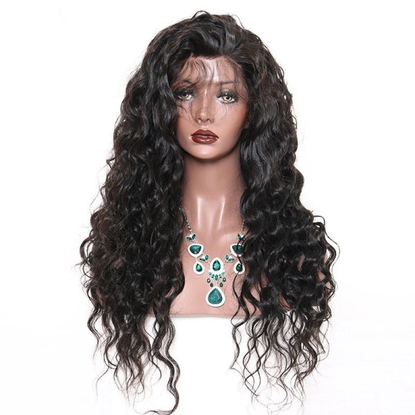 Front lace wig real indian hair curly wig color 1B LWM SH421 2