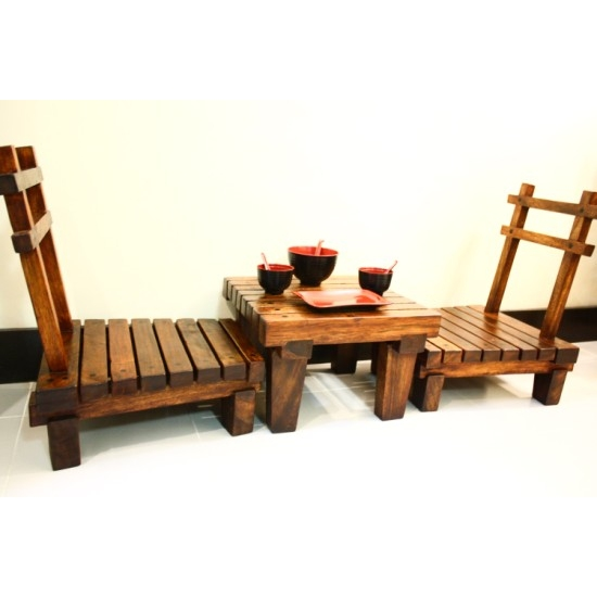 JAPANESE STYLE LOW DINING TABLE SET - Sublime Exports