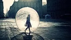 girl inside a bubble away from home