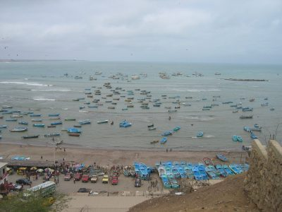 Fishing harbour in South America