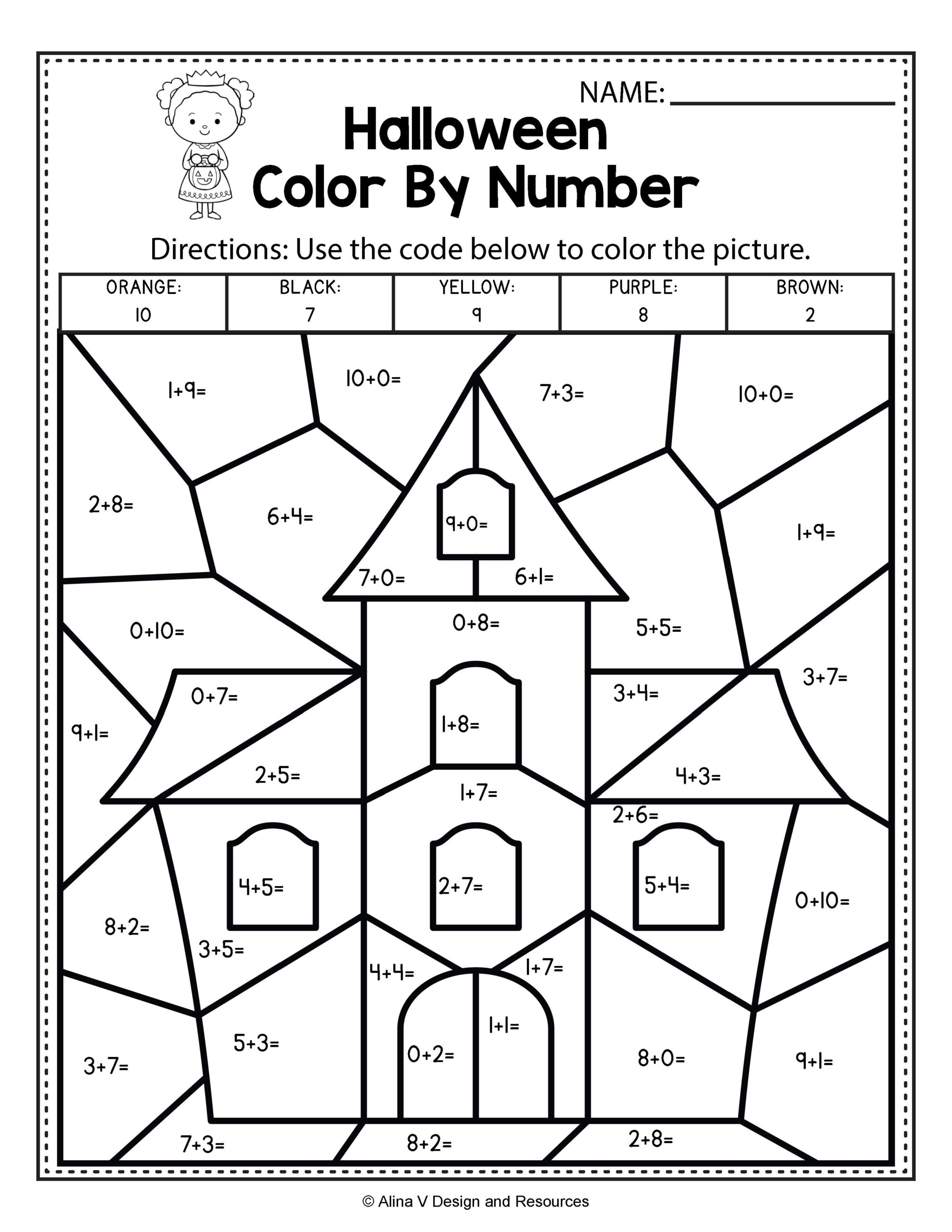 Halloween Addition And Subtraction Worksheets For First