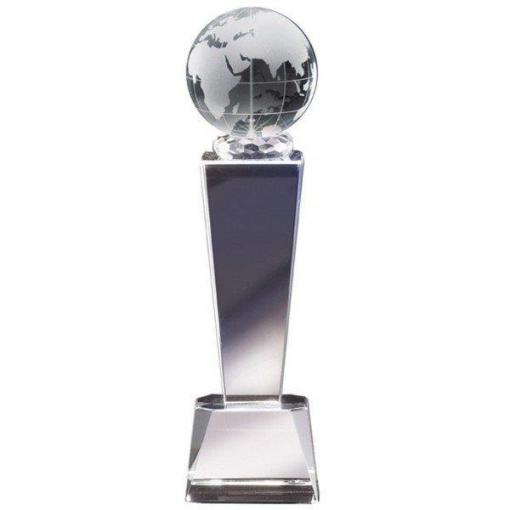 """8 3/8"""" Crystal Globe Tower Glass Trophy"""