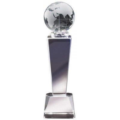 "8 3/8"" Crystal Globe Tower Glass Trophy"