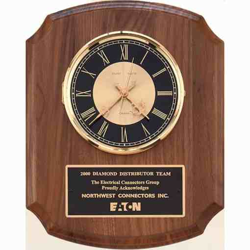 Walnut Plaque with Clock