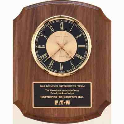 Walnut Plaque with Clock
