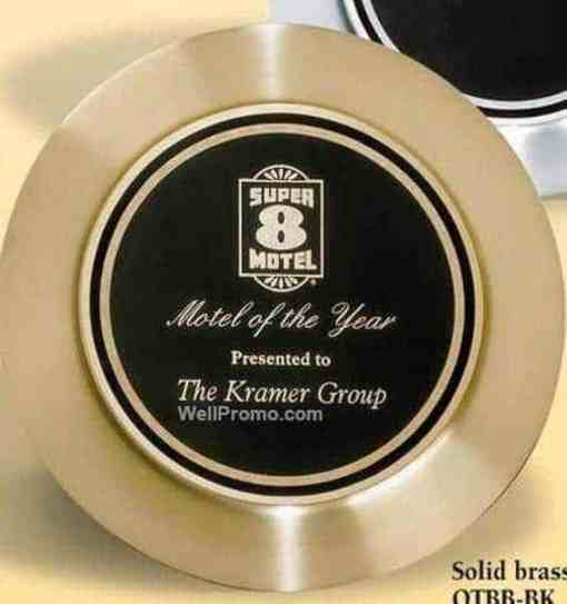 Black Plate on Solid Satin Brass Tray Award