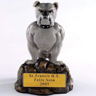 Bulldog Mascot School Trophy