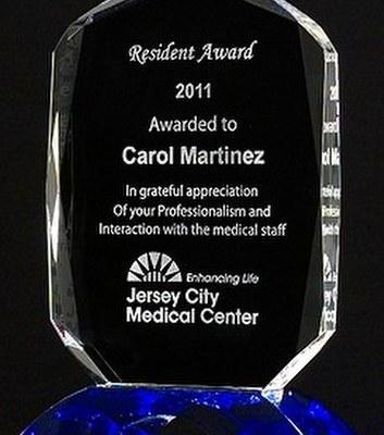 Crystal Award with Cobalt Blue Arch Base