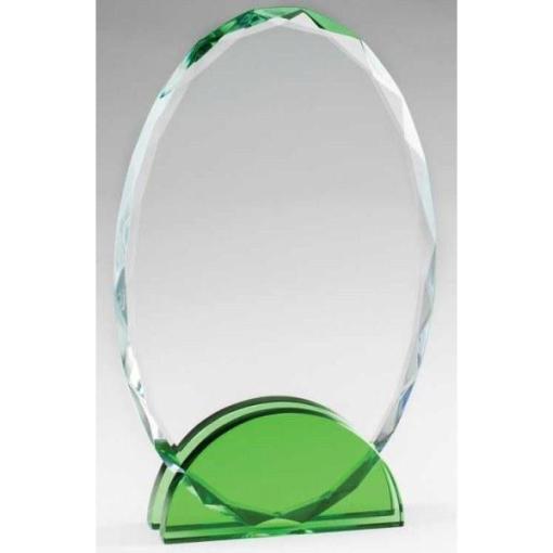 Green Double Arc Oval Glass Award