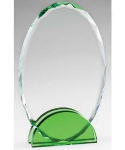 Green Double Arc Oval Glass Award