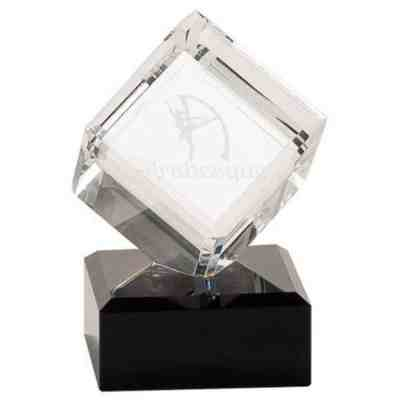 Clear Crystal cube on a Black Marble Base Award