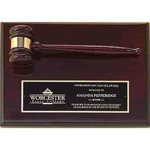 Gavel on a Rosewood Plaque