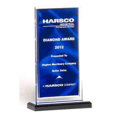 blue drape acrylic award