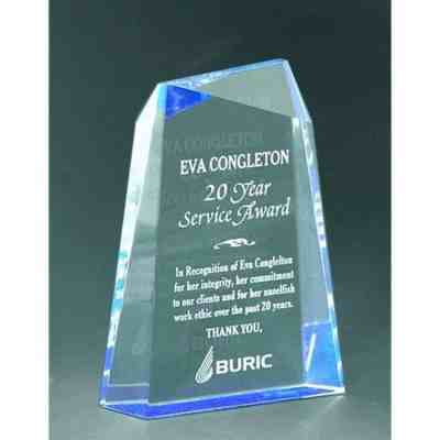 blue wedge faceted acrylic award